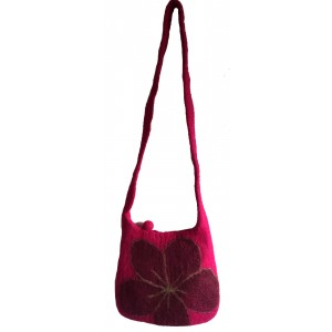 Bergundy Pink Felt Daisy Shoulder Bag / Handbag - Fair Trade - Handmade Lovely & Tactile