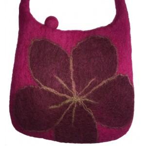 Dark Pink Felt Shoulder Bag/Handbag - Lovely Tactile Daisy Design - Fair Trade
