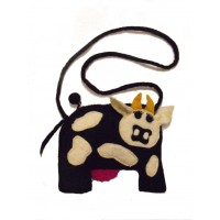Handmade Felt Cute Cow shoulder bag - fully lined - Perfect for kids - Fairtrade