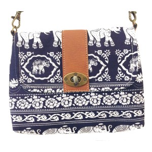 Vegan / Cruelty  Free Mini Hand Bag with detachable adjustable strap - White Elephants on Blue  Design - Fair Trade