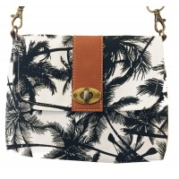 Vegan / Cruelty  Free Mini Hand Bag with detachable adjustable strap - Tropical Palm  Design - Fair Trade