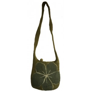 Green Felt Daisy Shoulder Bag / Handbag - Fair Trade - Handmade Lovely & Tactile