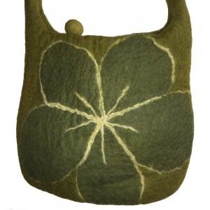 Green Felt Shoulder Bag/Handbag - Lovely Tactile Daisy Design - Fair Trade