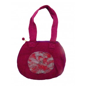 Fair Trade Hand Made Lovely Tactile Double Circle Variegated Felt Hand Bag - Purple