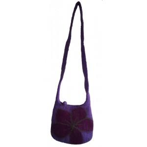 Purple Felt Daisy Shoulder Bag / Handbag - Fair Trade - Handmade Lovely & Tactile