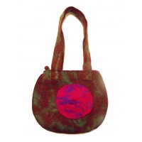 Fair Trade Hand Made Lovely Tactile Double Circle Variegated Felt Hand Bag - Pink