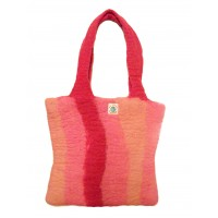 Fair Trade Hand Made Lovely Tactile Stripey Pink Hand Bag