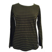 Fair Trade 100% Cotton Classic Stripey Green / Black Ladies Long Sleeve Fitted T Shirt