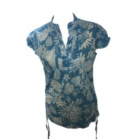 Bold Tropical Print Blue White Lucinda Blouse featuring Mandarin Collar -  Perfect for Work or Going Out- Fair Trade 100% Cotton