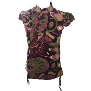 Bold Geometric Print Maroon Lucinda Blouse featuring Mandarin Collar -  Perfect for Work or Going Out- Fair Trade 100% Cotton