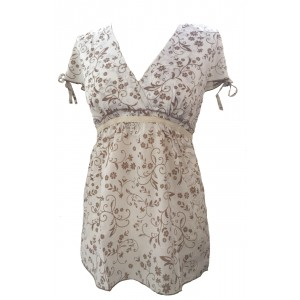Lovely White Floaty Floral Print Donatella Blouse -  Perfect for Work or Going Out- Fair Trade 100% Cotton