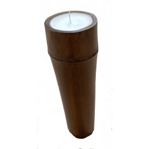 Large Bamboo Church Candle - Beautiful Vanilla Scented Tabletop Refillable Candle - Fair Trade