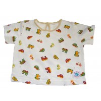 Cute Short Sleeve Soft Baby Cotton Car, Train & Bike Top - Fair Trade