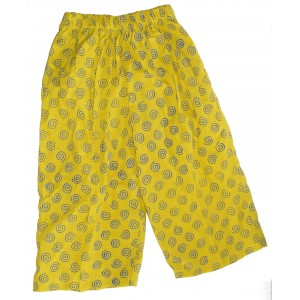 Kids Colourful Cotton Elasticated Children's Yellow Spiral Print Trousers - Fair Trade