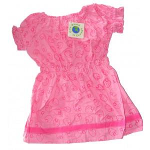 100% Cotton Classic Pink Strawberry Print  Little Girls Summer Dress - Fair Trade