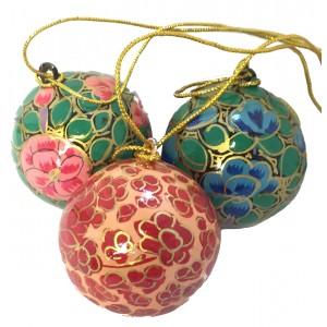 Small Kashmiri  Lacquerware Bauble Christmas Tree Decoration - Beautiful Fair Trade Handpainted