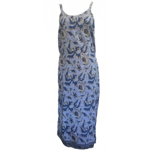 Beautiful Blue Strappy Balinese Bird of Peace Sundress/Shift Dress with Ties