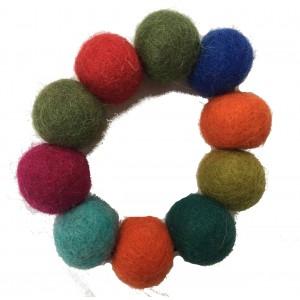 Hand Rolled Felt Rainbow Bobble Bracelet - Fair Trade