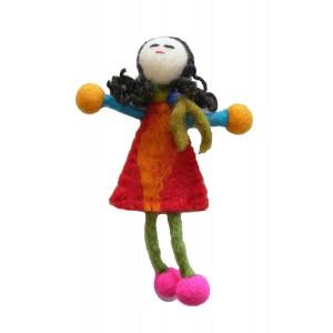 Hand made Felt Little Girl Brooch from Kathmandu - Fair Trade
