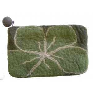 Large Felt Flower purse - Handmade - 100% wool - various colours - Fairtrade