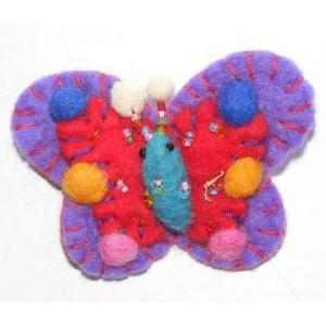 Hand Embellished Felt Butterfly Brooch - Fair Trade