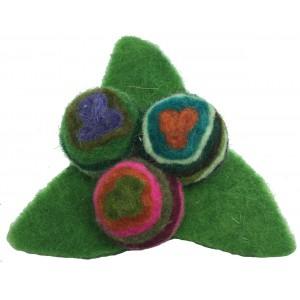 Stylish Stylised Triangular Hand made Felt Swirly Flower Brooch - Fair Trade