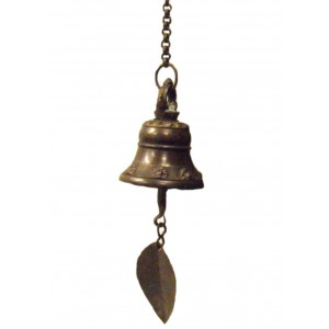 Traditional Nepalese Temple Wind Bell with leaf hanger to catch the breeze, with hanging chain and hook - makes a beautiful sound