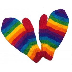 Fair Trade Handknitted Woollen Rainbow Mittens