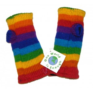Hand knitted Fleece Lined Fair Trade 100% Wool Multicoloured Rainbow Wrist Warmers / Arm Warmers (Wristies)