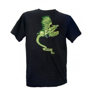 Fair Trade Embroidered Green Dragon T Shirt ( Black T Shirt)