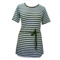 Classic White & Green Stripey Dress - Pure Cotton - Fair Trade