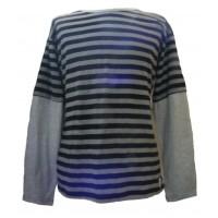 Fair Trade 100% Cotton Classic Stripey Black / Grey Mens Long Sleeve T Shirt