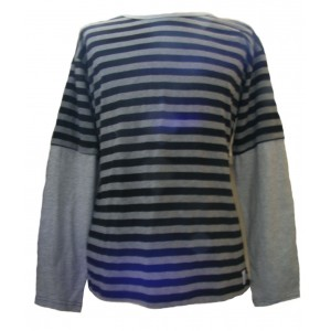 Fair Trade 100% Cotton Classic Stripey Black / Grey Mens Long Sleeve T Shirt