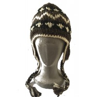 Black, White & Brown Traditional Tibetan Design Earflap Hat