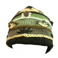 Shades of Green Hand Embroidered Hand Knit Wool Beanie Hat - Fair Trade - Fleece Lined Toasty Warm