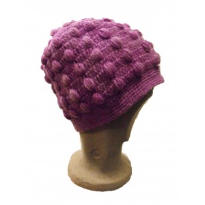 Fair Trade New Style Lilac Violet Bobbly Bobble Hat - Fleece lined - Hand Knitted - 100% Fairtrade Wool