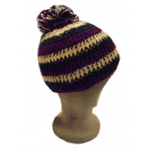 Purple, White & Blue Striped Bobble Hat - Fleece lined for extra warmth and comfort - Hand Knitted