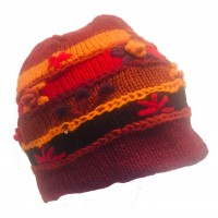 Shades of Red Hand Embroidered Hand Knit Wool Beanie Hat - Fair Trade - Fleece Lined Toasty Warm