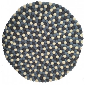 Beautiful Handmade Tactile Felt Blue & White Ball Rug from Nepal - 60 cm diameter- 100% Wool - Fair Trade