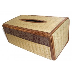 Natural Reed Tissue Box Cover with Elephant Design - Fair Trade