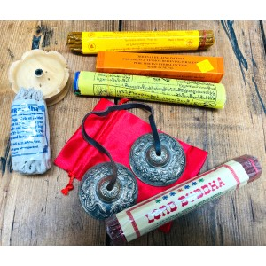 Tibetan Meditation Gift Set contains Lord Buddha, Orange Healing, Resheswor Monastery & Astasugandha Rope Incense plus incense holder, Tingsha Bells and Prayer Flags
