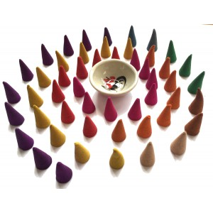 Fair Trade Hand Made Incense Cone Burner with 50 High Quality Fragrant Thai Incense Cones