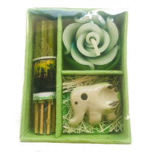 Citronella  Incense Gift Set;, Thai Incense Sticks, Candle & Burner Gift Set - Fair Trade