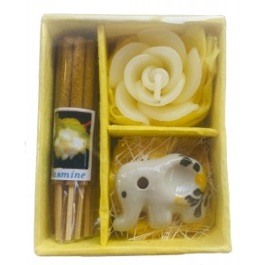 Jasmine Incense Gift Set, Thai Incense Sticks, Candle & Burner Gift Set - Fair Trade