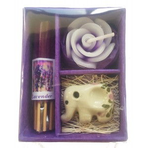 Lavender Incense Gift Set; Thai Incense Sticks, Candle & Burner Gift Set - Fair Trade