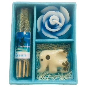 Ocean Incense Gift Set; Thai Incense Sticks, Candle & Burner Gift Set - Fair Trade