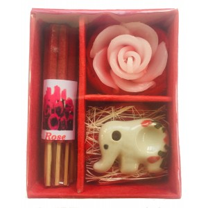 Rose Incense Gift Set; Thai Incense Sticks, Candle & Burner Gift Set - Fair Trade