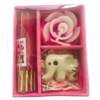 Sakura  Incense Gift Set; Thai Incense Sticks,, Candle & Burner Gift Set - Fair Trade