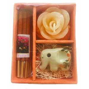 Thai Tulip Incense, Candle & Burner Gift Set - Fair Trade