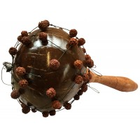 Large Shekere / Cabasa / Natural Coconut Maracas with Ruraksha Seeds - Beautiful Sound, Fair Trade